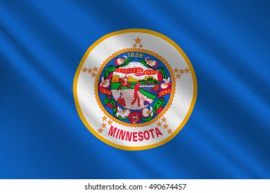 Flag of Minnesota is a state in the Midwestern United States. 3D illustration