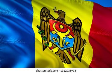 Flag of Moldova. 3D Waving flag design. The national symbol of Moldova, 3D rendering. National colors of Moldova 3D Waving sign background design.Europe 3D ribbon, wallpaper, pattern background