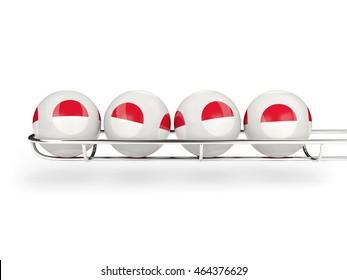 Flag of monaco on lottery balls. 3D illustration
