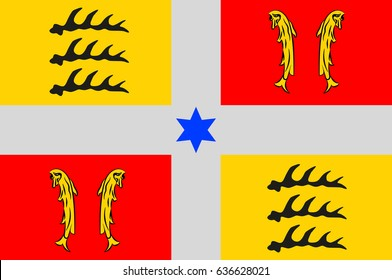 Flag of Montbeliard is a city in the Doubs department in the Bourgogne-Franche-Comte region in eastern France.
