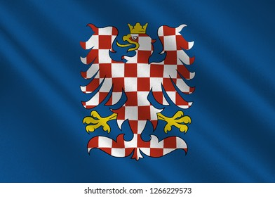 Flag of Moravia is a historical country in the Czech Republic and one of the historical Czech lands, together with Bohemia and Czech Silesia. 3d illustration