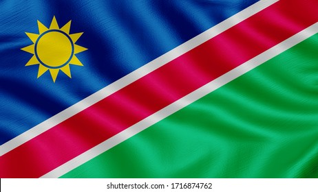 Flag of Namibia. Realistic waving flag 3D render illustration with highly detailed fabric texture.
