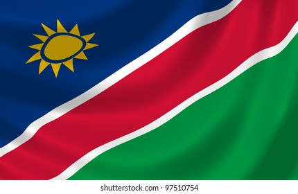 Flag of Namibia waving in the wind detail