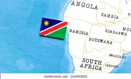 The Flag of Namibia in the World Map
