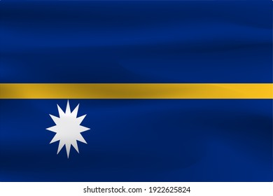 The flag of Nauru has a beautiful wrinkle of the weight of the fabric.