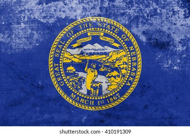 Flag of Nebraska State, with a vintage and old look