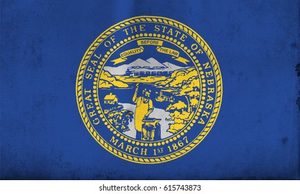 Flag of Nebraska, United States of America, with an old, vintage style