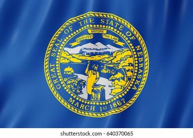 Flag of Nebraska, US state. 3D illustration of the Nebraska flag waving.