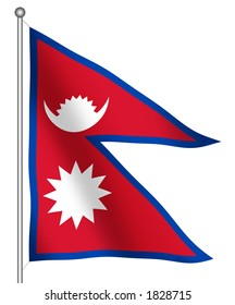 Flag of Nepal waving (With Clipping Path)