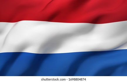 Flag of Netherland blowing in the wind. Full page Dutch flying flag. 3D illustration.