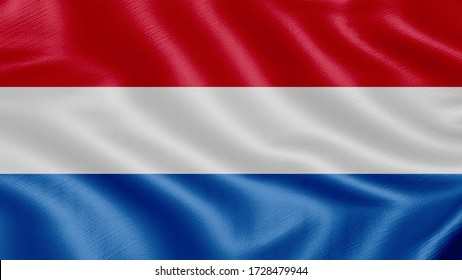 Flag of Netherlands. Realistic waving flag 3D render illustration with highly detailed fabric texture.
