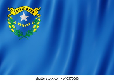 Flag of Nevada, US state. 3D illustration of the Nevada flag waving.