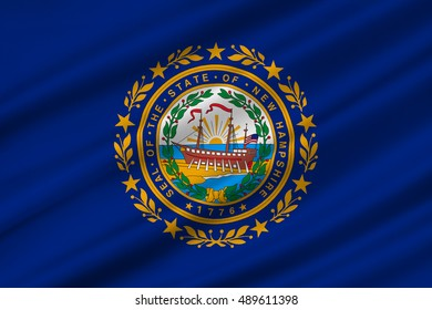 Flag of New Hampshire is a state of United States. 3D illustration