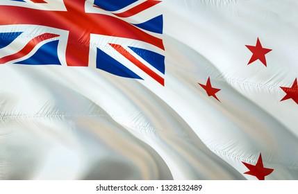 Flag of New Zealand Naval ensign. 3D Waving flag design. The national symbol of New Zealand Naval ensign, 3D rendering. National colors of New Zealand Naval ensign 3D Waving sign background design
