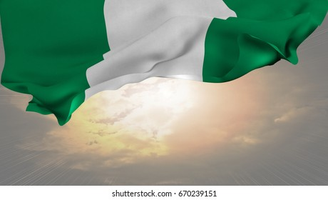 Flag of Nigeria, waving in the sky, in front of a shining sun.3D rendering