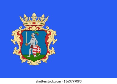 Flag of Nograd is a county of Hungary. 3d illustration