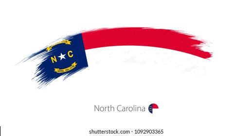 Flag of North Carolina state in rounded grunge brush stroke. Raster copy.