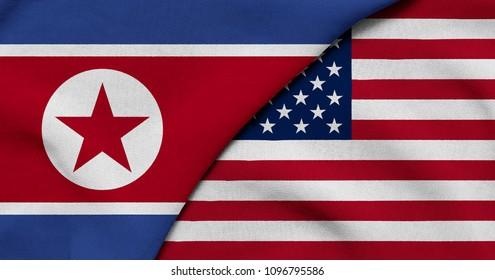 Flag of North Korea and USA