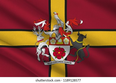 Flag of Northamptonshire is a county in the East Midlands of England. 3d illustration
