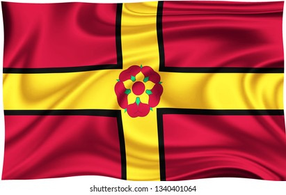 Flag of NORTHAMPTONSHIRE  COUNTY Location of England isolated on a white background with clipping path 3D illustration