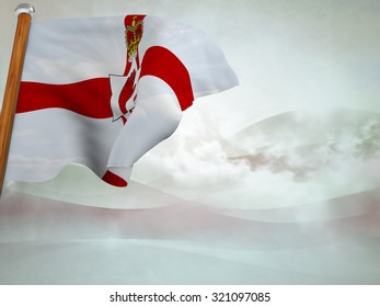 Flag of Northen Ireland floating in the wind on abstract background