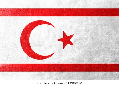 Flag of Northern Cyprus, painted on leather texture