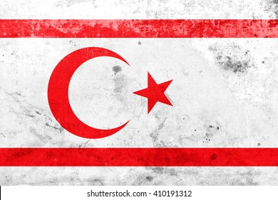 Flag of Northern Cyprus, with a vintage and old look