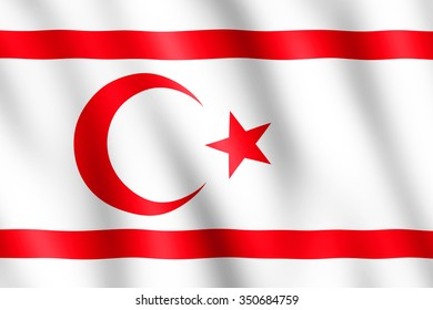 Flag of Northern Cyprus waving in the wind giving an undulating texture of folds in the fabric. The Image is in the official ratio of the flag - 2:3.