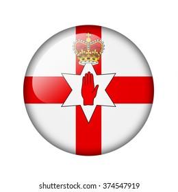 Flag of Northern Ireland. Round glossy icon. Isolated on white background.