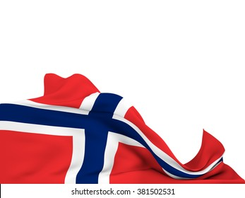 Flag of Norway moved by the wind, leaving a  white background