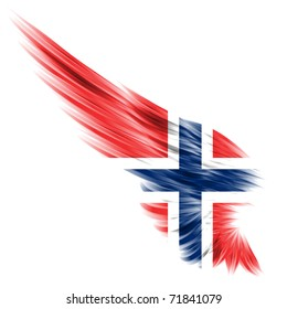 The flag of Norwegian on Abstract wing and white background