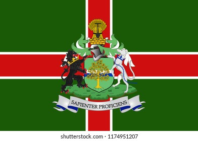 Flag of Nottinghamshire is a county in the East Midlands region of England. 3d illustration