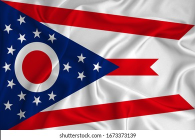 Flag of Ohio in the United States on the background texture. Concept for designer solutions.