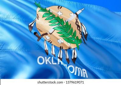 Flag of Oklahoma. 3D Waving flag design. Emblem of Oklahoma and Tulsa, 3D rendering. National colors of Oklahoma 3D Waving USA state flags background concept. 3D ribbon, HD wallpaper
