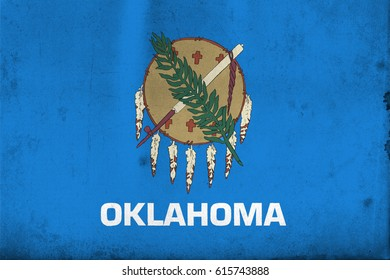 Flag of Oklahoma, United States of America, with an old, vintage style