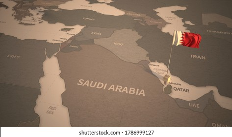 Flag on the map of bahrain. Vintage Map and Flag of Middle East Countries Series 3D Rendering