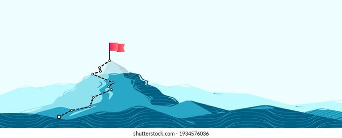 Flag on the mountain peak. Flat style illustration