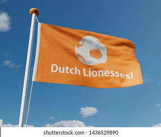 Flag on pole waving in the wind. Dutch lionesses. Female football team Holland.  3D illustration.