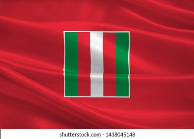 Flag of Oranjestad is the capital and largest city of Aruba. 3d illustration