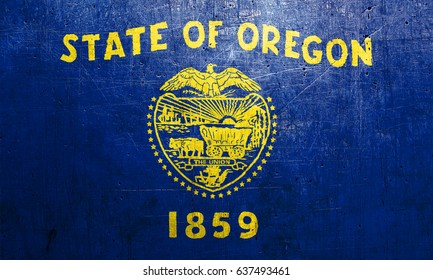 Flag of Oregon, USA, with an old metal texture