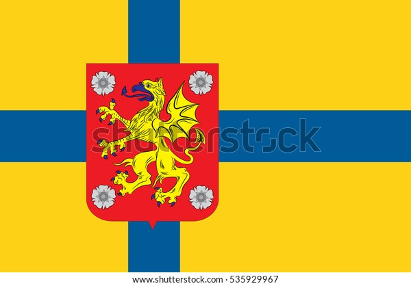 Flag Ostergotland County Southeastern Sweden Stock Illustration 535929967