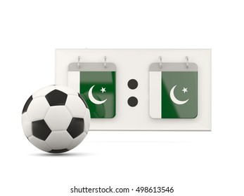 Flag of pakistan, football with scoreboard and national team flag. 3D illustration