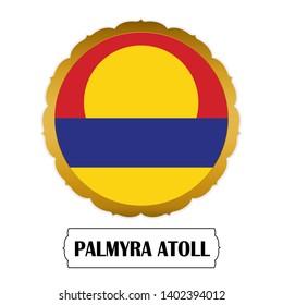 Flag of Palmyra Atoll with name icon, Golden sticker with flag of the Palmyra Atoll.