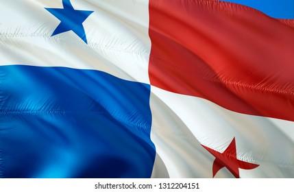 Flag of Panama. 3D Waving flag design. The national symbol of Panama, 3D