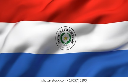Flag of Paraguay blowing in the wind. Full page Paraguayan flying flag. 3D illustration.