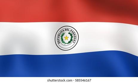 Flag Paraguay, fluttering in the wind. 3D rendering.