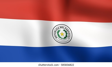 Flag of Paraguay, fluttering in the wind. 3D rendering.