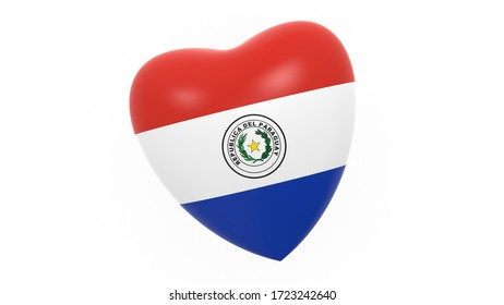 flag of Paraguay in heart on white background, 3d rendering