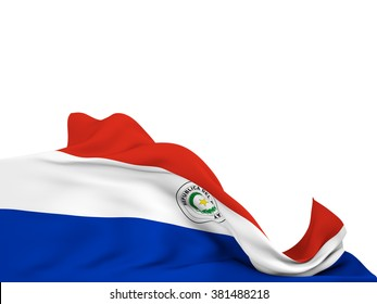 Flag of Paraguay moved by the wind, leaving a  white background