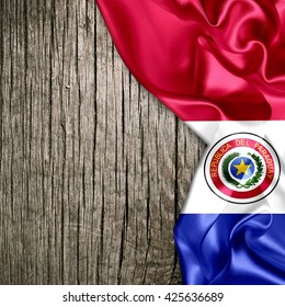 Flag of Paraguay on wood background